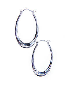 Belk Silverworks Large Oval Polished Hoop with a Click Top Post in Silver 100