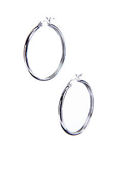 Belk Silverworks Silver 100 Round Hoop with Snap Top Post