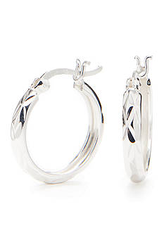 Belk Silverworks Pure 100 Diamond Cut Small Hoop Earrings