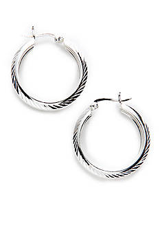 Belk Silverworks Diamond Cut Wide Round Hoop in Silver 100