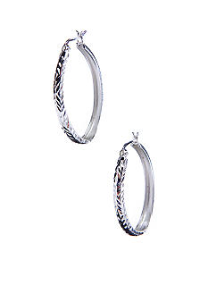 Belk Silverworks Silver 100 Oval Hoop with Snap Top Post