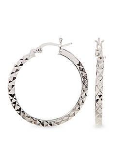 Belk Silverworks Silver 100 E Coat Hoop Earring