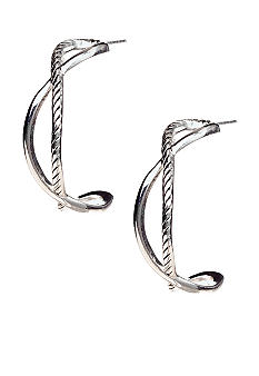 Belk Silverworks Cross Over Hoop Earrings