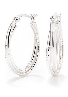 Belk Silverworks Pure 100 E Coated Crossover Hoop Earrings