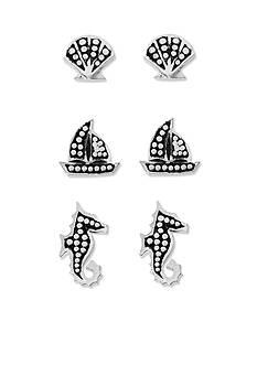 Belk Silverworks Pure 100 Trio Sea Life Ears E Coat Earring Set