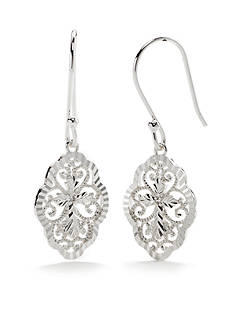 Belk Silverworks Pure 100 E Coat Filigree Drop Earring