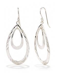 Belk Silverworks Pure 100 Double Hammered Drop Earring