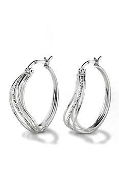 Belk Silverworks Pure 100 Hoop Earring with Cubic Zirconia