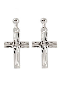 Belk Silverworks Pure 100 E Coat Diamond Cut Cross Drop Earrings