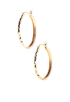 Belk Silverworks Diamond Cut Oval Hoop in 24Kt Gold over Silver 100