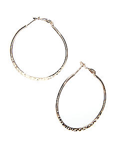 Belk Silverworks 24Kt Gold over Silver 100 Etched Hoop Earring