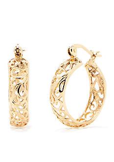 Belk Silverworks 24Kt Gold Over Pure 100 Wide Hoop Earring