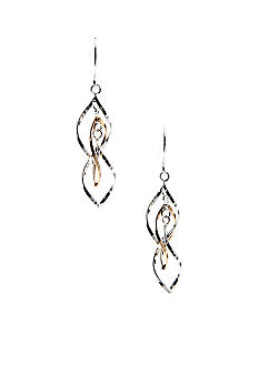Belk Silverworks Two Tone Drop Earring in Silver 100