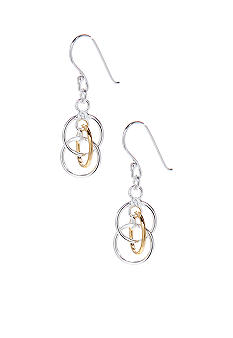 Belk Silverworks Two Tone Triple Link Drop Earrings