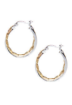 Belk Silverworks Two Tone Double Hoop Click-It Earrings