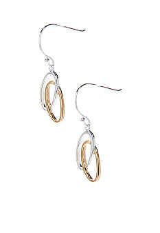 Belk Silverworks Two Tone Double Oval Drop Earrings