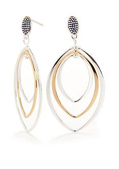 Belk Silverworks Two-Tone Large Triple Drop Earring