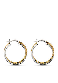 Belk Silverworks Two-Tone Twisted Hoop Earrings
