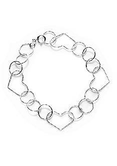 Belk Silverworks Pure 100 8-in. Link Open Heart Bracelet