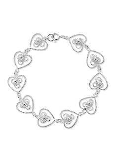 Belk Silverworks Pure 100 Etched Heart Bracelet