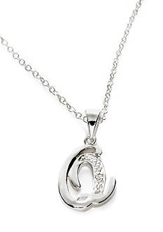 Belk Silverworks Silver 100 Script Initial Q with Cubic Zirconia