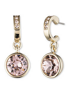 Givenchy Gold-Tone Rose Crystal Drop Earrings