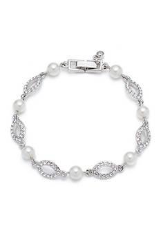 Givenchy Silver-Tone Pearl Crystal Flex Bracelet