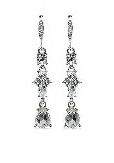 Givenchy Silver-Tone Crystal Linear Earrings