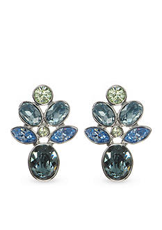 Givenchy Silver-Tone Blue Cluster Drop Earrings