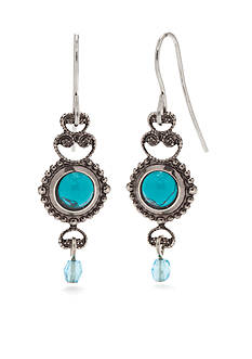 Silver Forest Turquoise Filigree Drop Earrings
