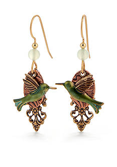 Silver Forest Green Hummingbird Earrings