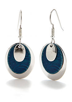 Silver Forest Oval Drop Earrings