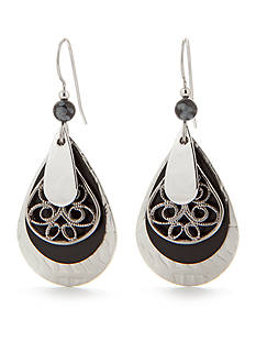 Silver Forest Layered Silver-Tone Metal and Black Filigree Drop Earring