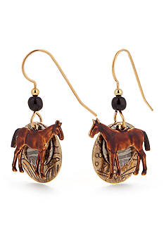 Silver Forest Horse Drop Earrings