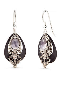 Silver Forest Silver-Tone Amethyst Stone Layered Drop Earrings