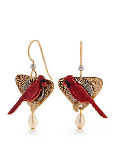 Silver Forest Cardinal Layered Earrings