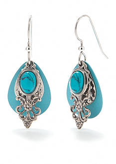Silver Forest Turquoise Stone Earrings