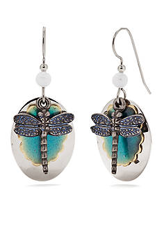 Silver Forest Dragonfly Layered Drop Earrings