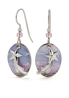 Silver Forest Shooting Star Drop Earrings