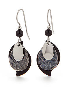 Silver Forest Onyx Drop Earrings