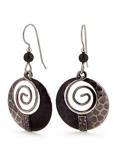 Silver Forest Black Coil Earrings