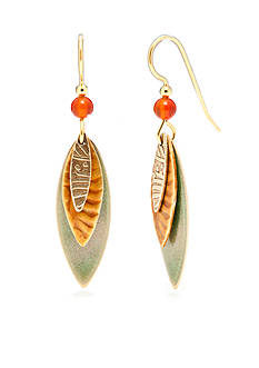 Silver Forest Gold-Tone Leaf Layered Drop Earrings