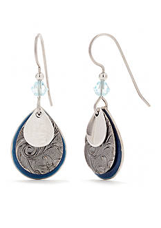 Silver Forest Silver-Tone and Blue Layered Teardrop Earrings