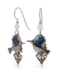 Silver Forest Hummingbird Drop Earrings