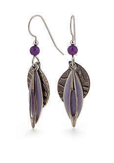 Silver Forest Purple Drop Earrings
