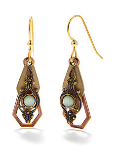 Silver Forest Vintage Green Drop Earrings