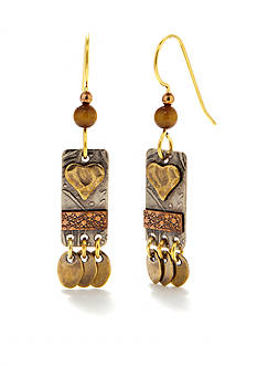 Silver Forest Mixed Metal Artisan Heart Drop Earrings