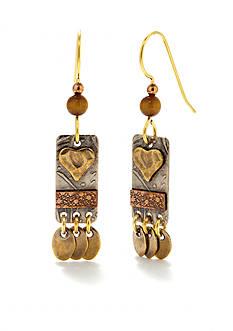 Silver Forest Mixed Metal Artisan Heart Drop Earrings