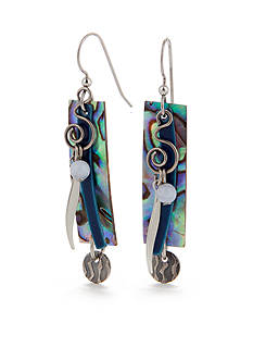 Silver Forest Rectangle Blue Shell Drop Earrings