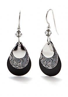 Silver Forest Layered Drop Earrings